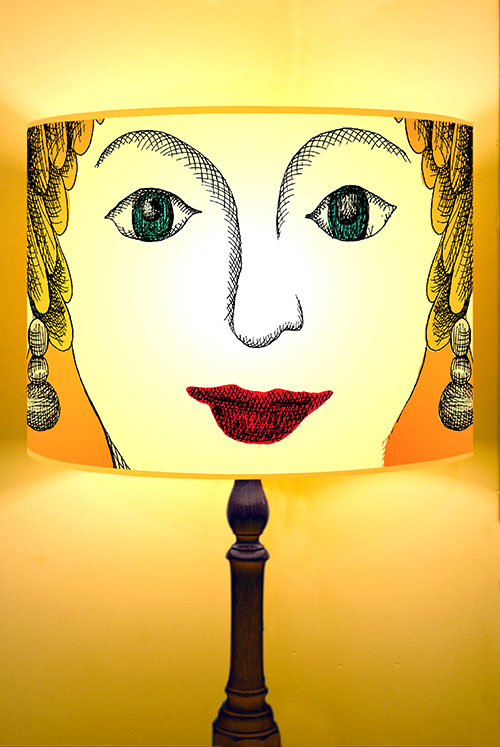 Illustrated face lamp shade
